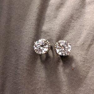Platinum plate CZ earrings